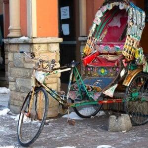A rickshaw in the snow? It's a new Canada along Gerrard Street.