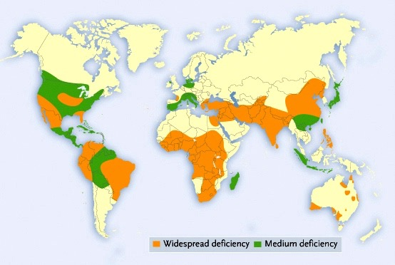 This map from the International Fertilizers Association indicates that many of the world's soils are deficient in zinc.