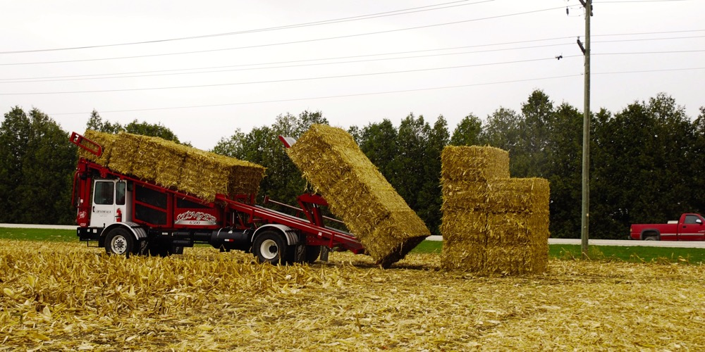 corn baler and bales