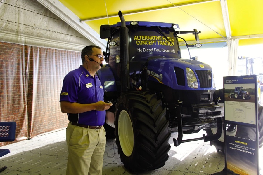 Mike Cornman explains the features of New Holland's concept multi-fuel T6 tractor.