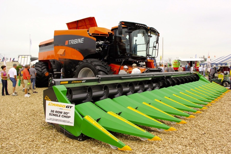 On display at the U.S. Farm Progress Show, the first production Tribine model is set for release. It blends a combine with a grain cart.