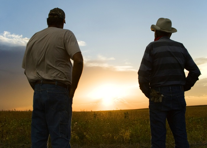 Men watching sunset