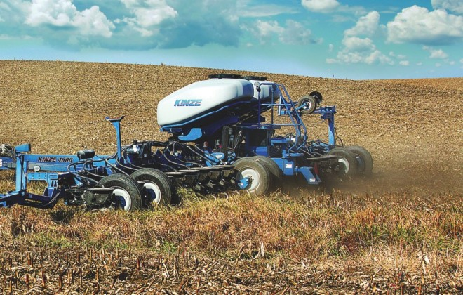 Kinze's multi- hybrid planter allows farmers to switch between two hybrids in the field based on a prescription map.