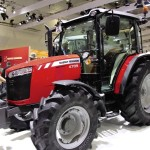 "A 4709 on display at AGCO's exhibit during Agritechnica in November. The ""Tractor of the Year"" award decal is visible on the 5713SL behind it."