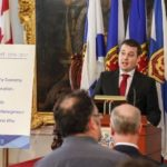 Nova Scotia Finance Minister Randy Delorey lays out the budget for reporters Tuesday in Halifax. (NovaScotia.ca)