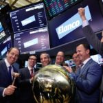 Elanco CEO Jeff Simmons rings the ceremonial bell as the company's stock begins trading on Sept. 20, 2018 at the NYSE. (Photo: Reuters/Brendan McDermid)