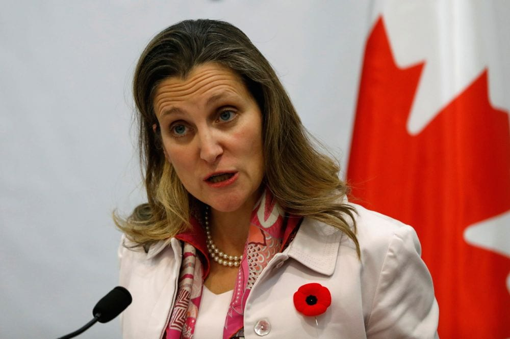 Foreign Minister Chrystia Freeland, shown here Nov. 1 at a press conference in the occupied West Bank, says Canada's objective remains getting to a Friday signing for the USMCA. (Photo: Reuters/Mohamad Torokman)