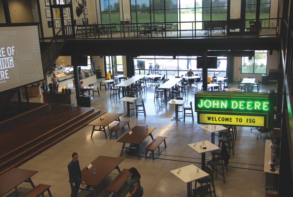 The main atrium at John Deere's new ISG R&D building in Des Moines, Iowa, is the hub of a unique work environment for engineers and scientists in tech and robotics.