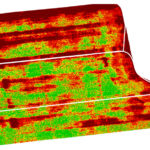 An NDVI image of a corn crop that indicates side-dress nitrogen effects on corn maturity.