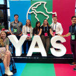 Left to right: Kelcie Miller-Anderson, Brendon Hebor (former YAS delegate, current YAS ambassador and co-founder of Ripple Farms), Grace Heuver, Leah Davidson, Karly Rumpel, Emmett Sawyer, Komie Hossini (associate communications business partner — Bayer Cropscience Canada).