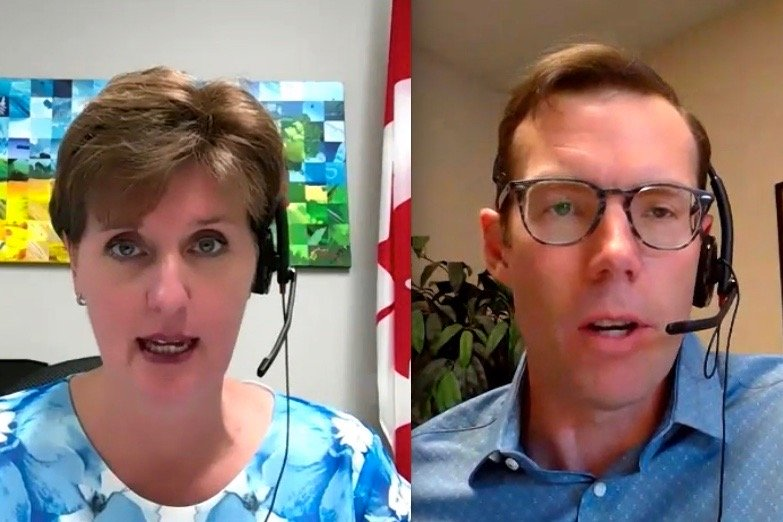 Federal Agriculture Minister Marie-Claude Bibeau and Conservative ag critic John Barlow discussed the impact of carbon pricing on farm expenses when Bibeau addressed an agriculture committee meeting on June 10, 2020. (Video screengrabs from Parl.gc.ca)