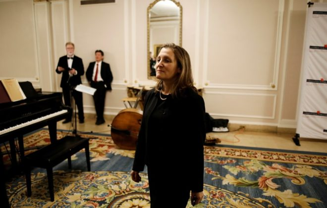 Deputy Prime Minister Chrystia Freeland waits to enter a ballroom at an event in Ottawa on Dec. 9, 2019. (Photo: Reuters/Blair Gable)