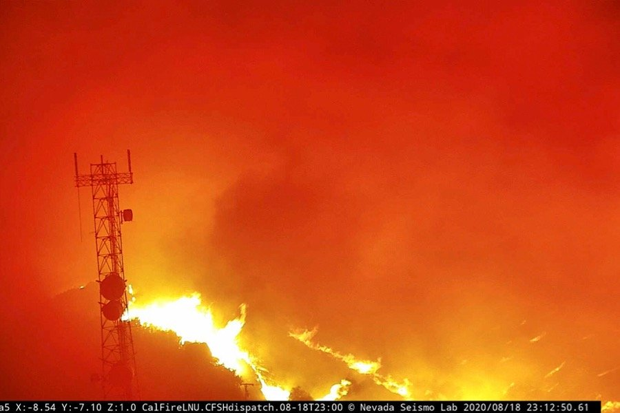 Flames from the Hennessey Fire are seen in the last image from a tower-mounted camera before it melted, according to AlertWildfire, on Atlas Peak northwest of Vacaville, Calif. on Aug. 18, 2020. (Photo: Alertwildfire.org/Handout via Reuters)