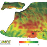 The SWAT maps show a 3D image such as this one. Zone 1 (red) is water-shedding, thin topsoils with low organic matter. Zone 5 (yellow) is a field average soil. Zone 10 (green) areas are water-collecting areas with deep topsoils with high organic matter.