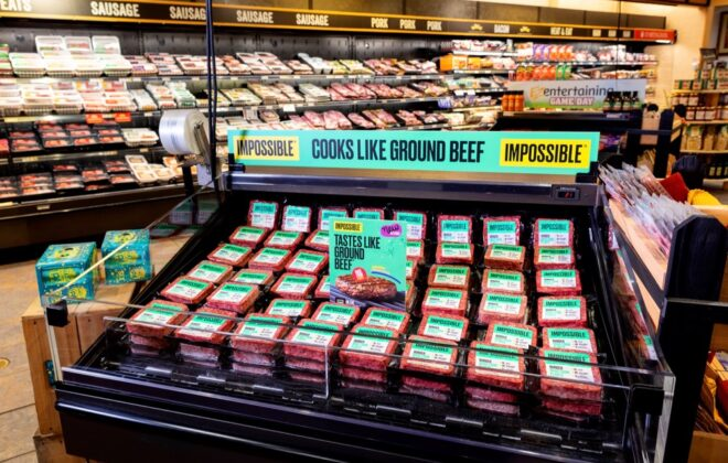 U.S.-based Impossible Foods, whose Impossible Burger is shown here on display at U.S. grocery chain Wegmans, launched the product at Canadian retail in late October 2020, selling exclusively at Sobeys stores until February 2021. (ImpossibleFoods.com)
