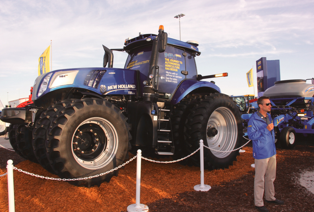 NH North America's vice-president Bret Lieberman introduced New Holland's autonomous T7 at the same time CaseIH introduced its autonomous tractor at the 2016 farm show.