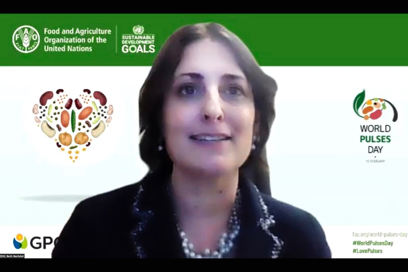Beth Bechdol, deputy director-general for the UN's Food and Agriculture Organization (FAO), speaks on a video conference call marking World Pulses Day. (Photo courtesy FAO via Flickr, copyright FAO)