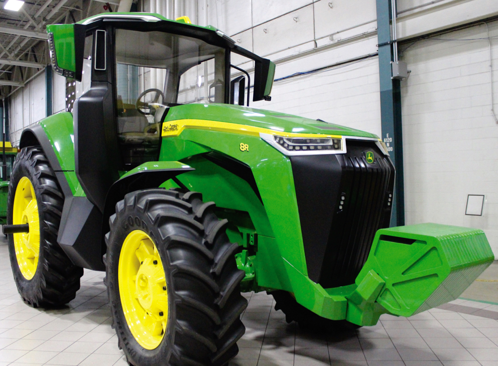 The original 8R concept tractor built by Designworks remains on display at Deere's Iowa assembly plant.