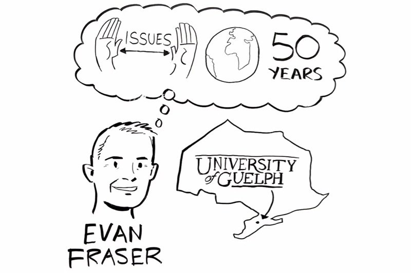 """University of Guelph professor Evan Fraser, shown here in cartoon form discussing food security initiative """"Feeding 9 Billion,"""" has been named co-chair of the new Canadian Food Policy Advisory Council. (Feeding9Billion.com video screengrab via YouTube)"""
