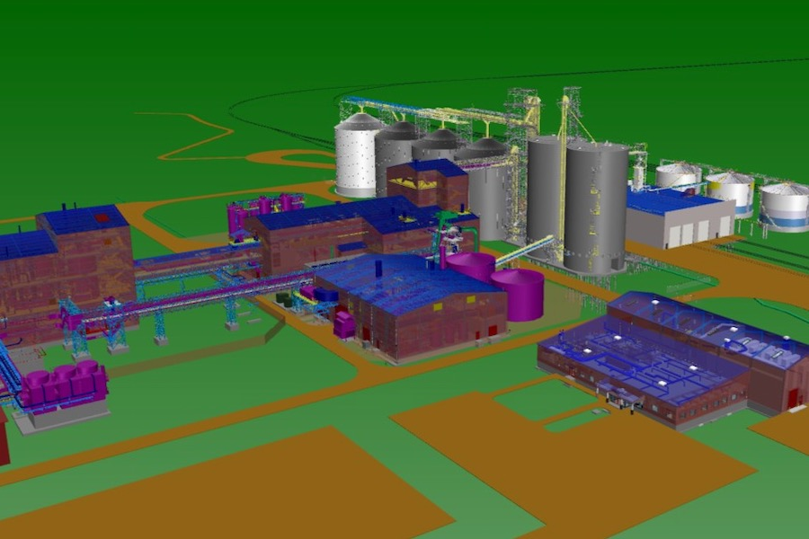 Excerpt from a digital rendition of Cargill's proposed $350 million canola crushing plant proposed for the Regina area. (Image courtesy Cargill)